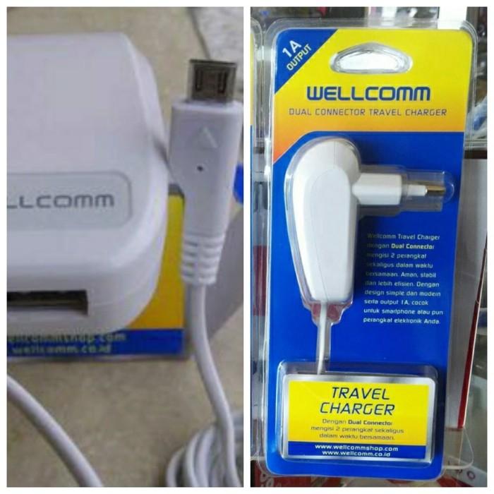 harga Wellcomm travel charger 1a dual connector nexian evercoss mito carger Tokopedia.com