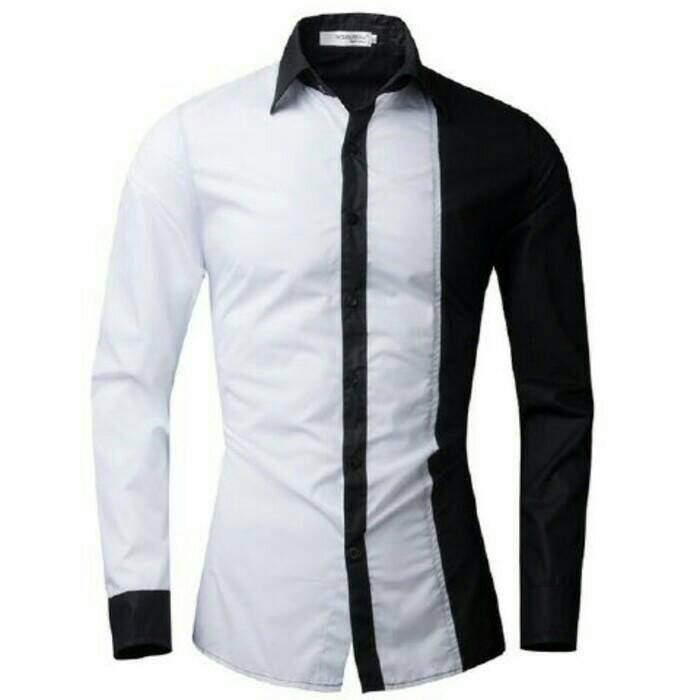 harga Baju kemeja pria cowok lengan panjang putih hitam [kemeja hanch] Tokopedia.com