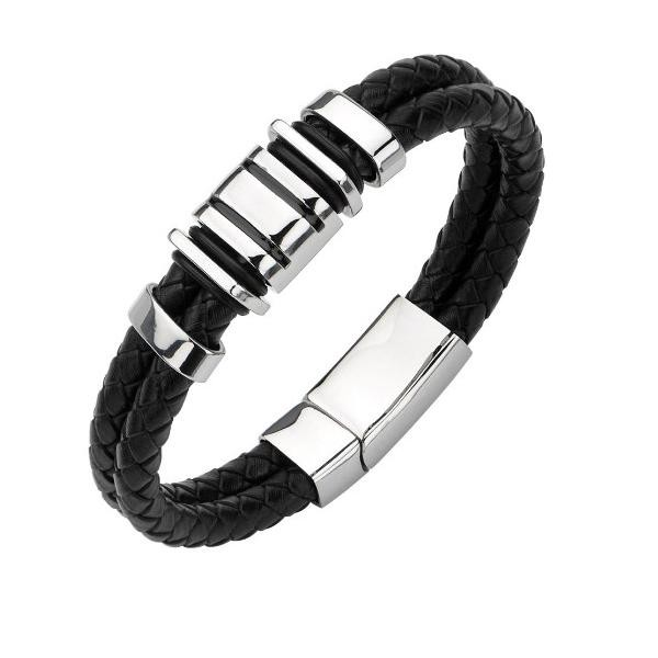 harga Parker leather bracelet titanium steel / gelang pria kulit asli hitam Tokopedia.com