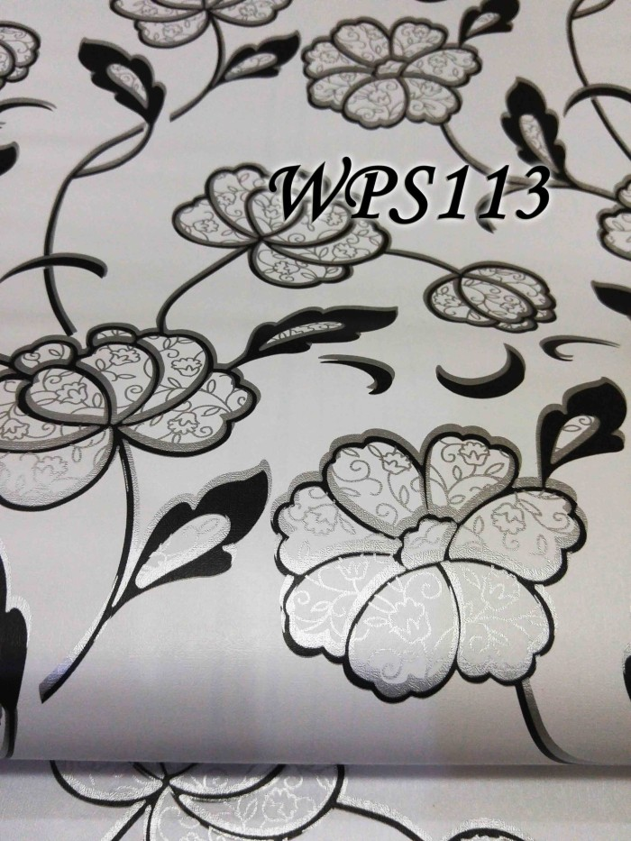 Wallpaper sticker 45cmx5m wps113 white n cute black silver flower