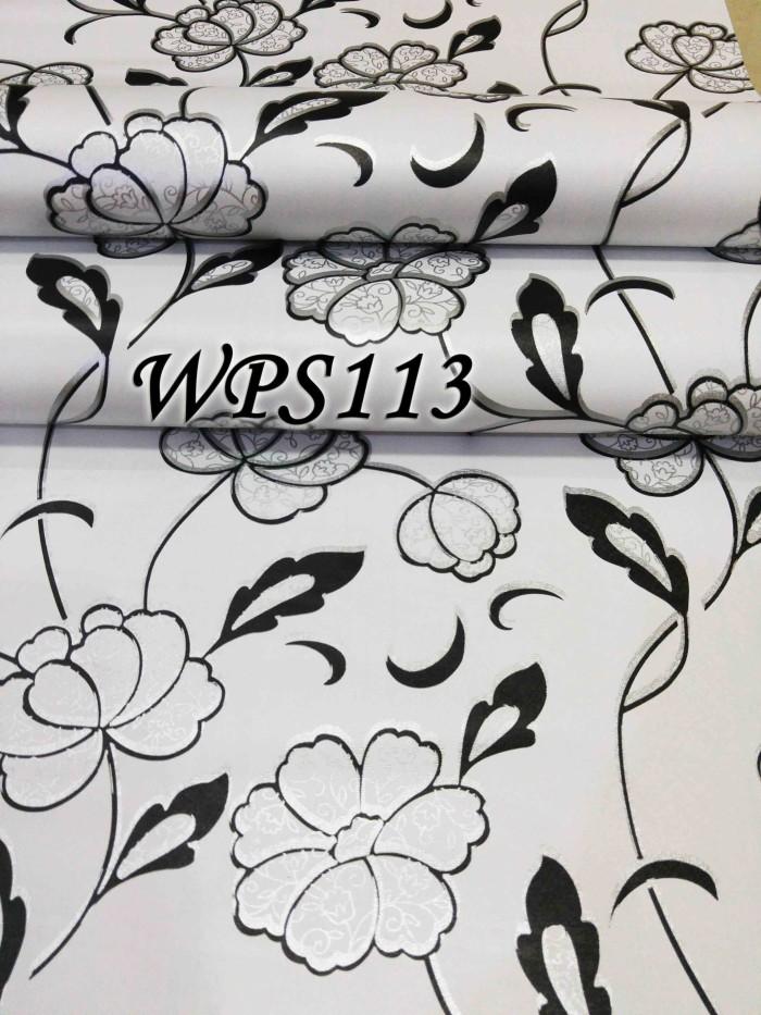 Wallpaper sticker 45cmx5m wps113 white n cute black silver flower