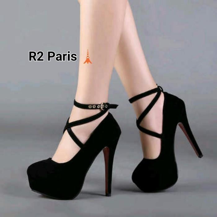 High heels straps giani hitam & merah ...