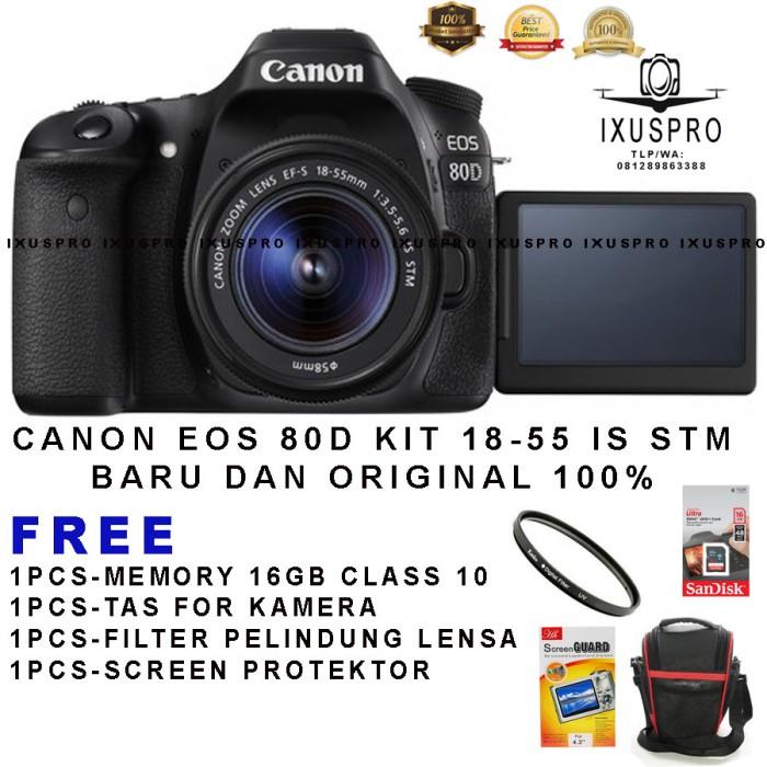 harga Camera canon eos 80d + lensa 18-55 is stm wifi/dslr canon eos 80d kit Tokopedia.com