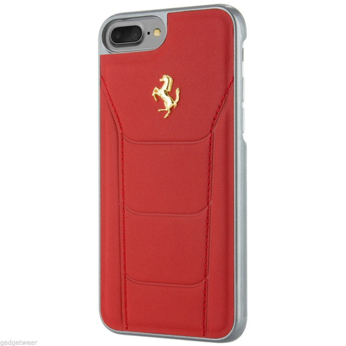 Ferrari Gold Debossed Genuine Leather Hard Case iPhone 7 Plus - Merah