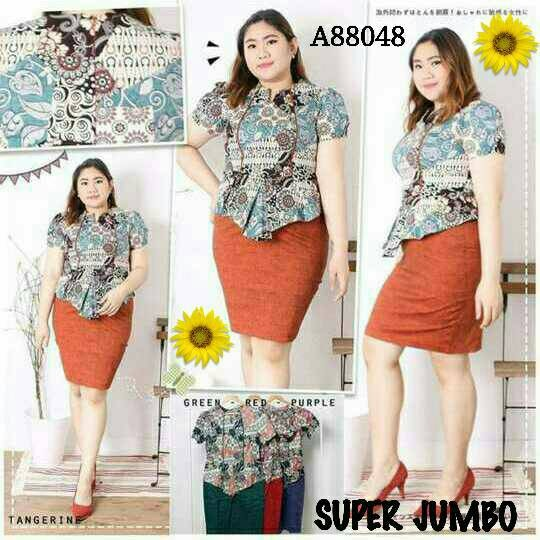 Jual PEPLUM DRESS  NEW MODERN BATIK DRESS  SUPER JUMBO BAJU