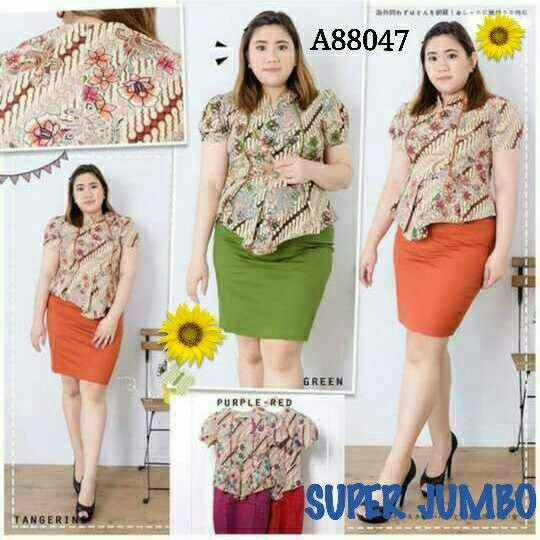 Jual PEPLUM DRESS  NEW MODERN BATIK DRESS SUPER JUMBO SIZE  BAJU