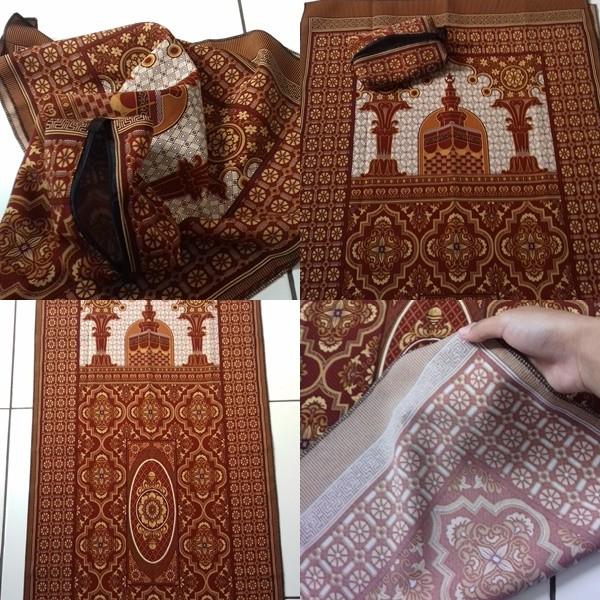 Sajadah Batik Seri Masjid FullCoklat Pouch Sleting