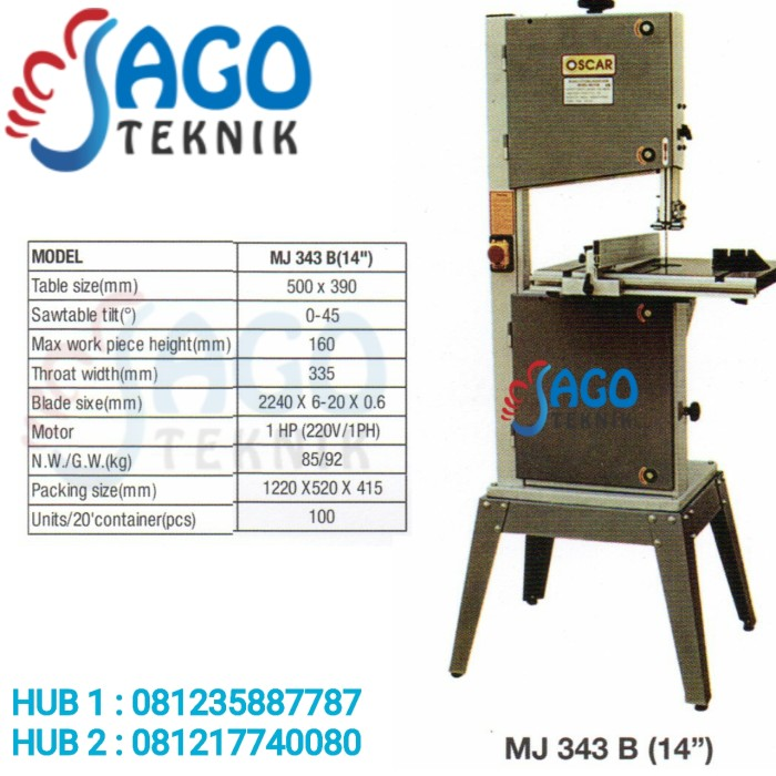 harga Wood cutting band saw 14  oscar mj 343b / mj343 b oscar Tokopedia.com
