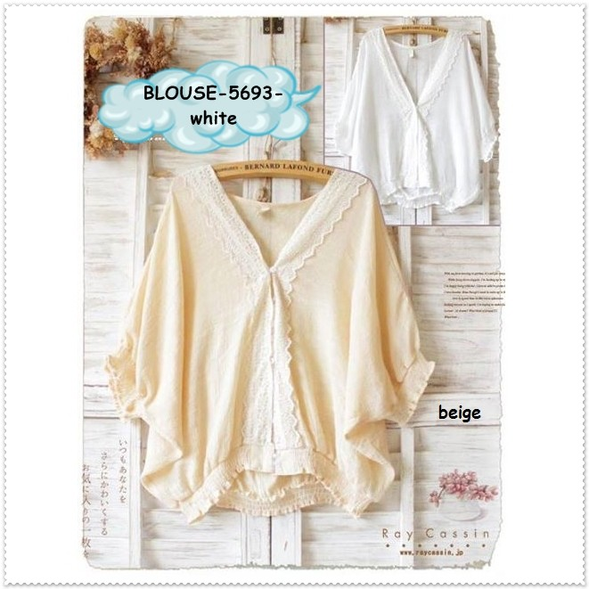 harga Baju atasan outer mori jepang putih beige blouse wanita korea import Tokopedia.com
