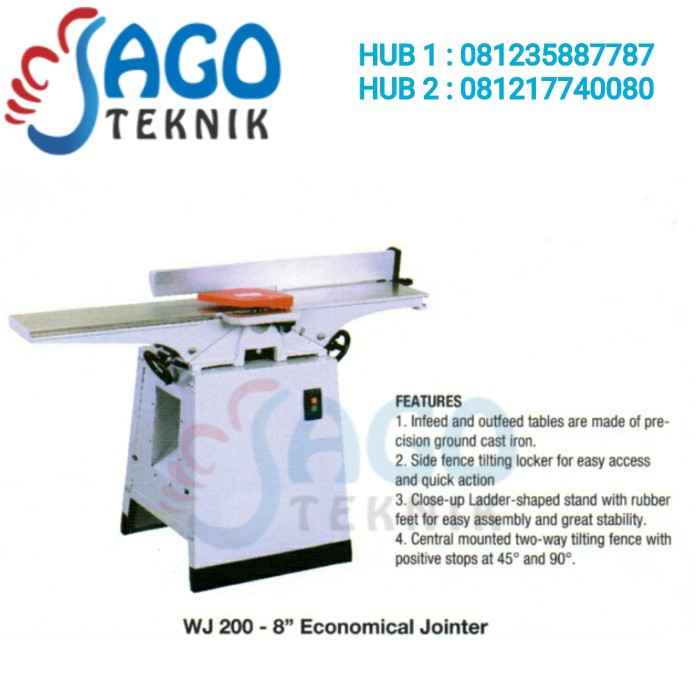 harga Wood jointer wj-200 oscar / economical jointer 8 inch oscar Tokopedia.com