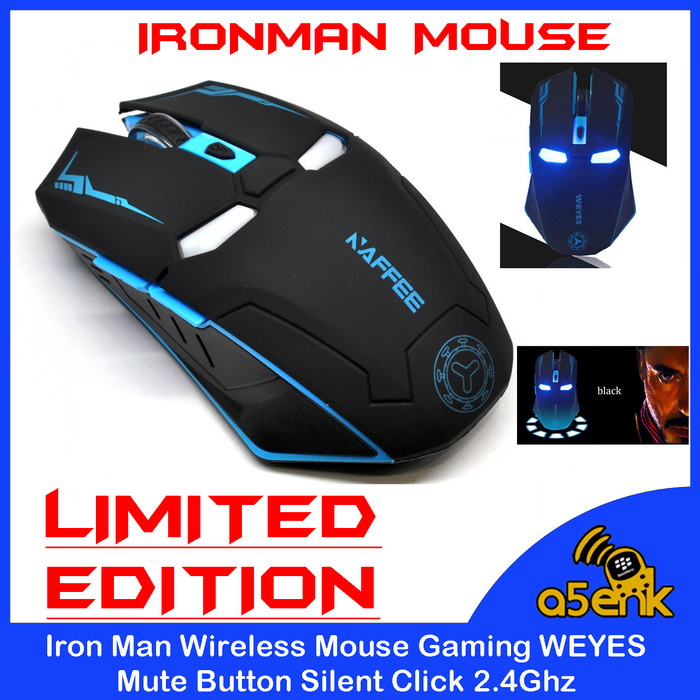 Foto Produk Iron Man Wireless Mouse Gaming WEYES Mute Button Silent Click 2.4Ghz dari a5enk