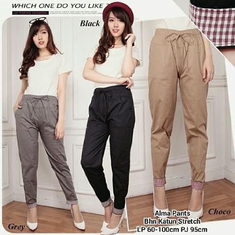 Celana Bahan Katun Stretch Cewek / Long Pants Wanita Katun Murah