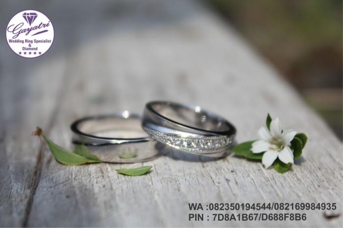 cincin pernikahan gayatri perak 925 rhodium + emas putih 14k