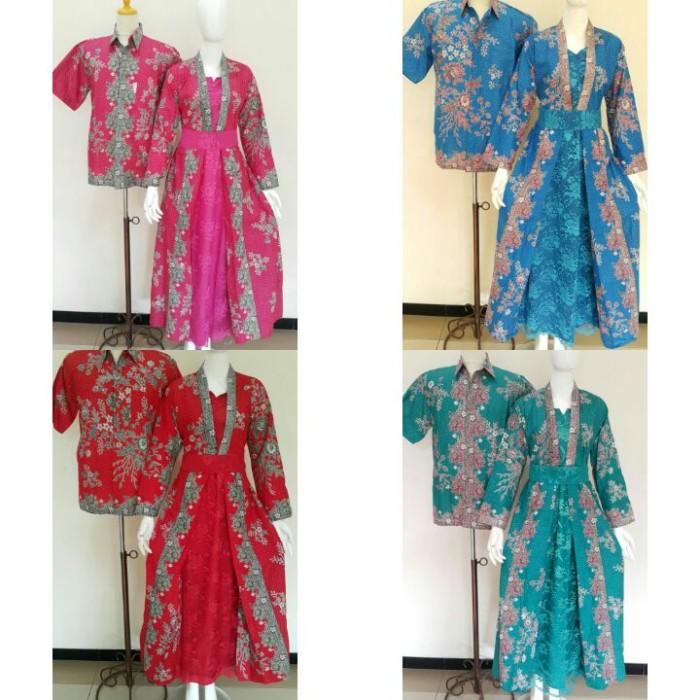 harga Batik sarimbit gamis/batik couple katun +brokat/ sarimbit kd melati Tokopedia.com