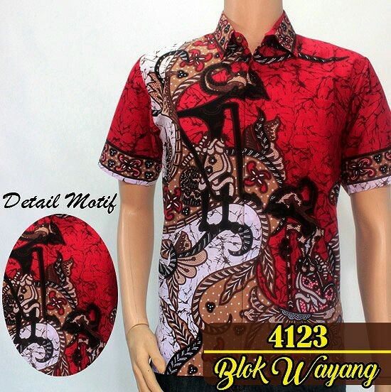 Jual 4123 kemeja hem batik wayang solo murah seragam pekalongan