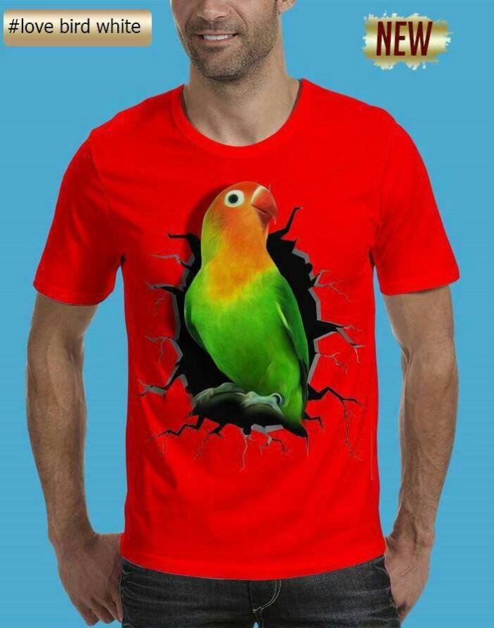 harga Grosir t shirt  tshirt kaos pria 3d burung kicau mania love bird merah Tokopedia.com