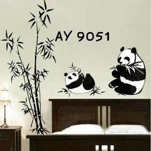 jual dekorasi dinding wall sticker black panda ay9051 - lk store