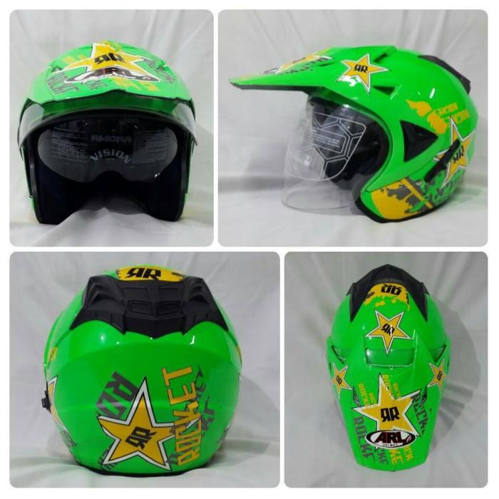 harga Helm arl semi cross half face double visor rocket hijau stabilo. Tokopedia.com