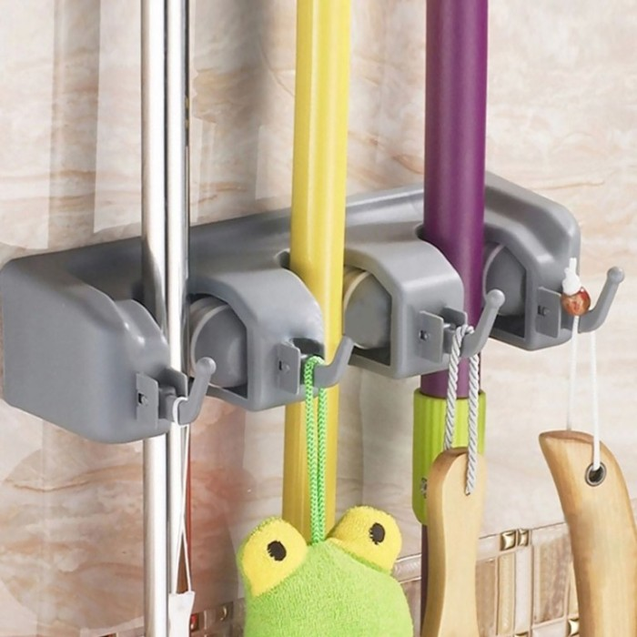 Gantungan Sapu Alat Pel 3 Slot Hanger Serbaguna Super Magic Mop Holder