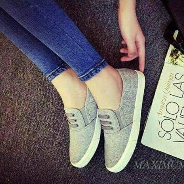 Km04 abu flatshoes flat shoes sepatu kets casual slip on sneaker korea