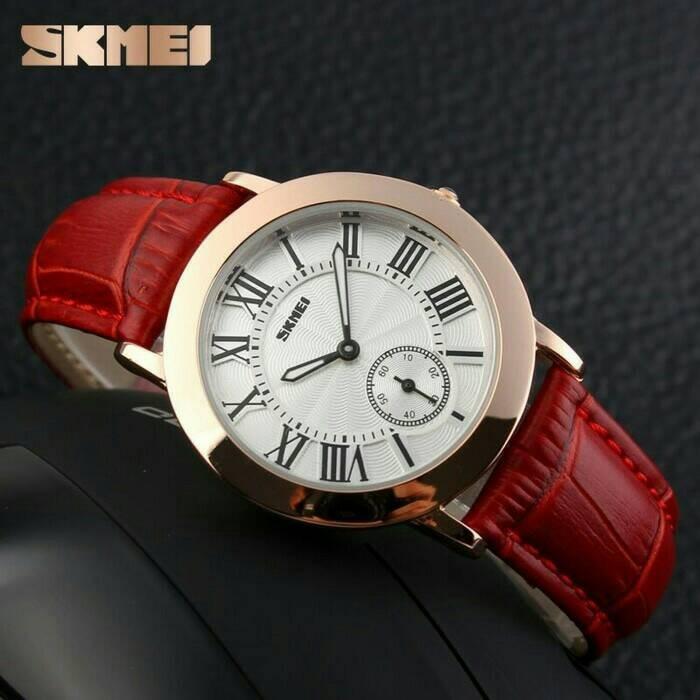 Jam tangan wanita cewek original anti air murah kulit bulat skmei
