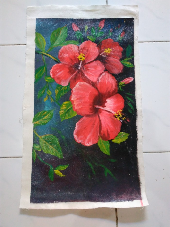 Jual Lukisan Bunga Kembang Sepatu Jakarta Timur Id Gallery Tokopedia