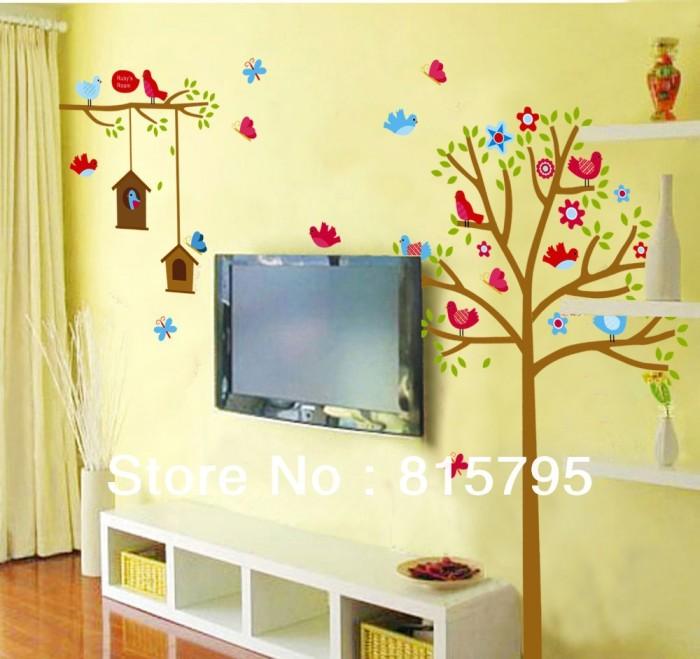 jual (beli 1 gratis 1) wallpaper stiker dinding pohon burung wall