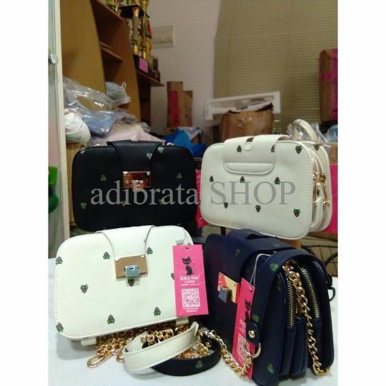 TERBARU Clutch Pattern Warna Putih Tas Wanita Import Korea 3 Ruang SPE