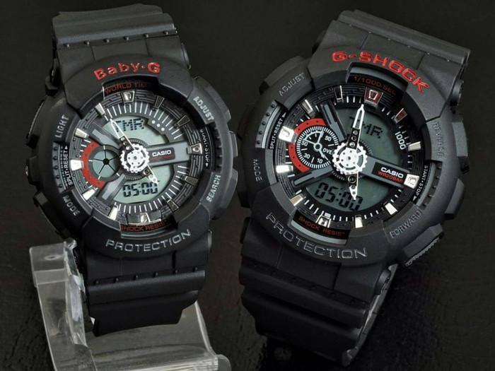 Jual JAM TANGAN COUPLE CASIO GSHOCK GA110 BLACK LIST RED ... ba0ae477b3