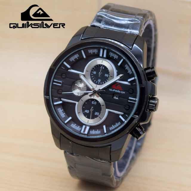 Jam tangan Pria Sporty Quicksilver Rantai Black List White