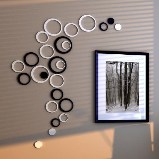jual 3d wall sticker polkadot/bulat/dekorasi dinding kayu ringan