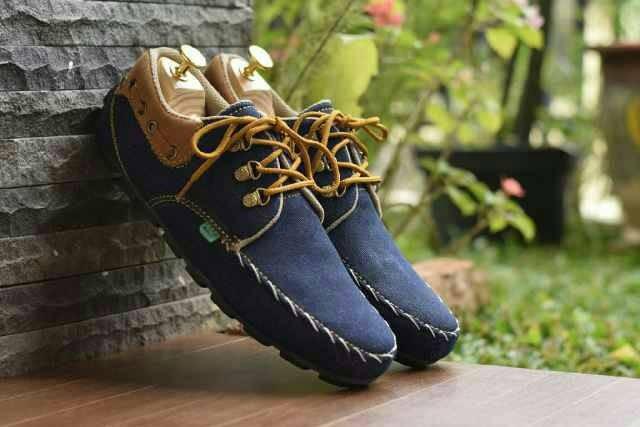 harga Sepatu kickers sneakers - sepatu casual tali pria denim rajut Tokopedia.com