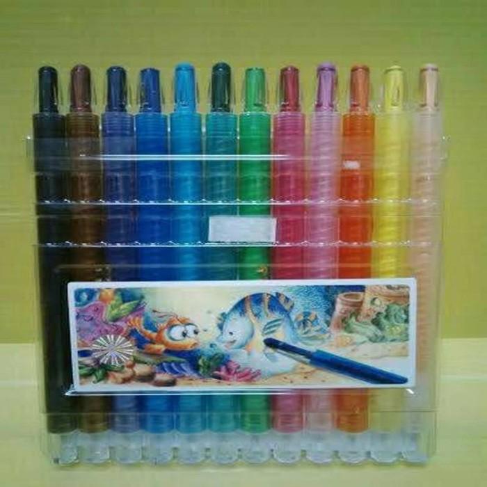 Jual Crayon Titi Putar 12 Warna Panjang Serbu Grosir