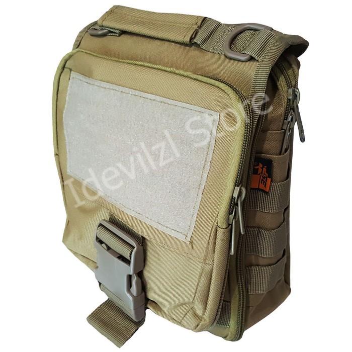 Sling Bag Tas Selempang Army Outdoor Silver Knight 8001 - Coklat .