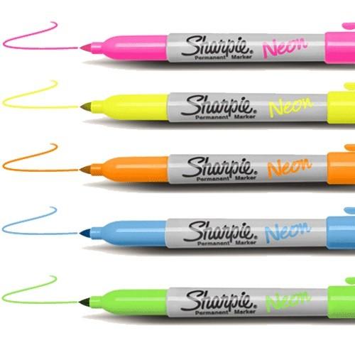 Sharpie Fine Point//Tip Neon Permanent Marker Single Pens ~ 5 Fluorescent Colours