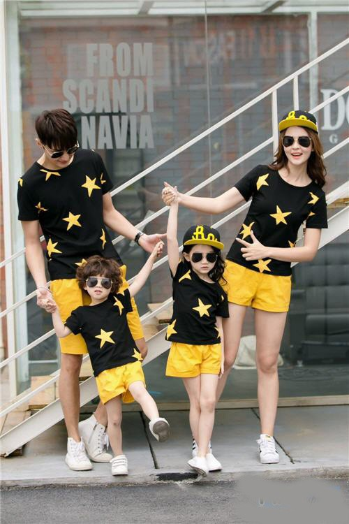 Family couple / baju keluarga / kaos 2 anak full star 10565