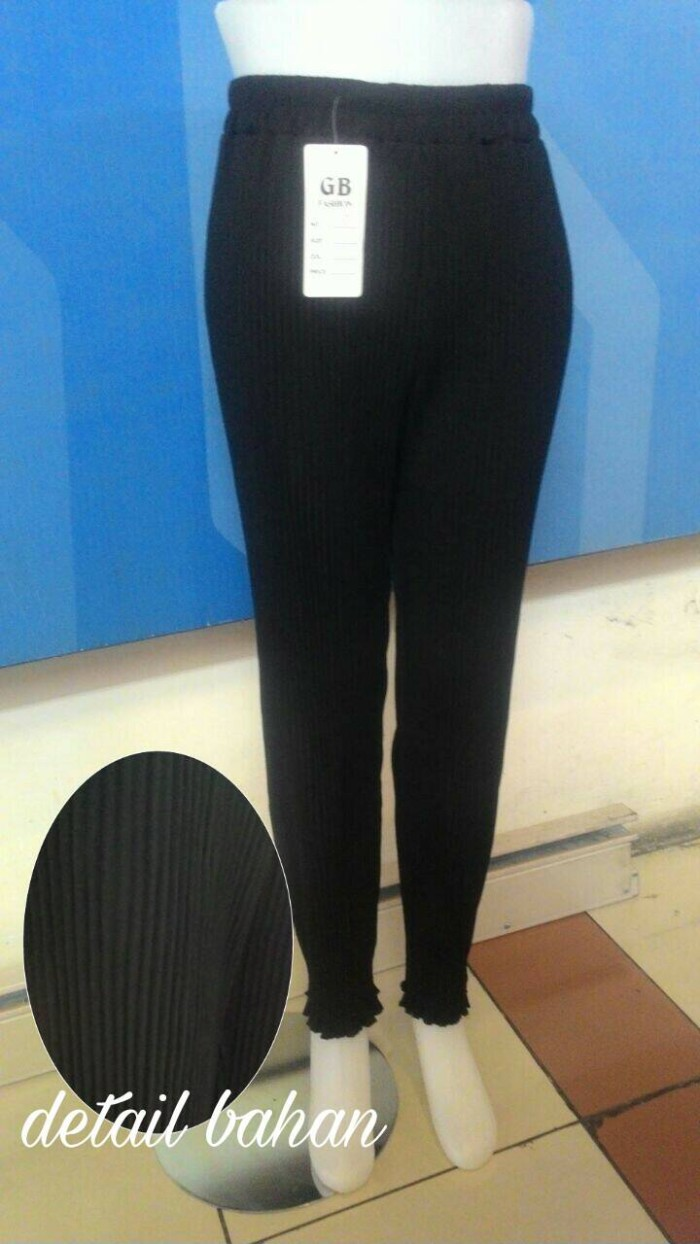 Jual Celana Pensil Plisket Pleated Legging Hitam Chiffon Fashion Import