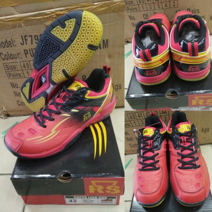 harga Sepatu badminton/bulutangkis rs super liga 800 merah/hitam - original Tokopedia.com