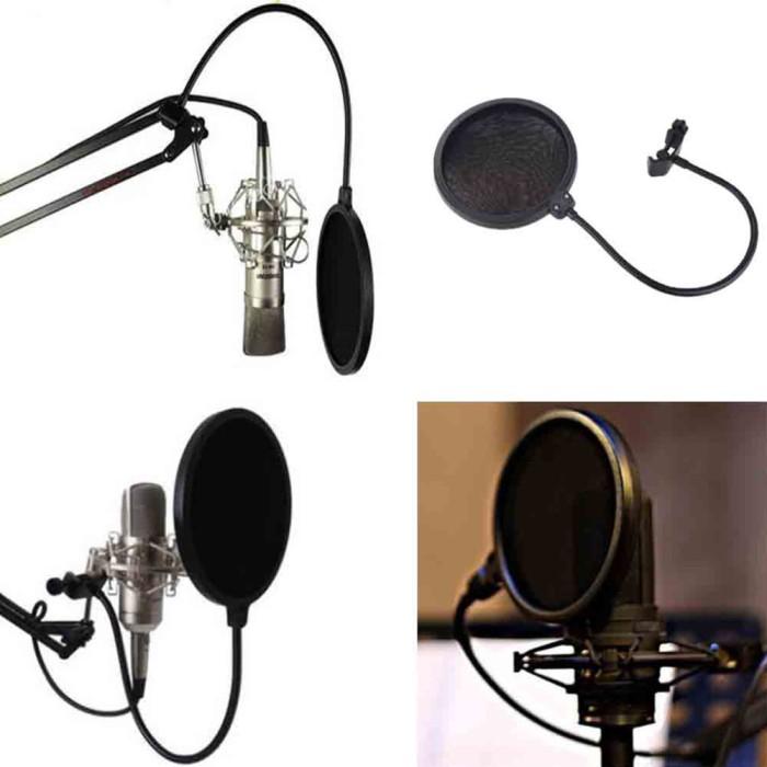 harga Pop filter mikrofon layer ganda mesh windscreen - black Tokopedia.com