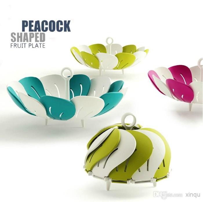 Foto Produk Peacock Shaped Fruit Plate / Mangkuk piring Buah Lipat foldable basket - hijau muda dari serba grosir murah