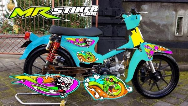 Jual Stiker Striping Motor Pitung Honda C70 Tema Airbrush Mr