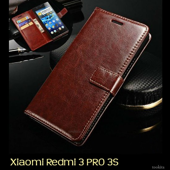 harga Leather flip cover wallet xiaomi redmi 3 pro 3s prime case dompet hp Tokopedia.com
