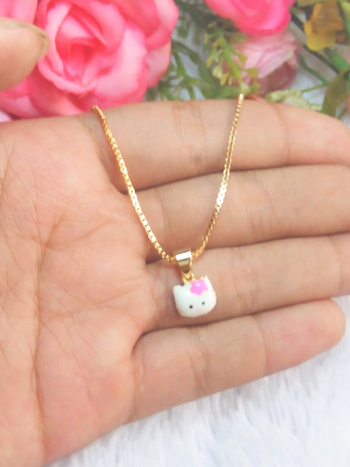 Kalung anak hello kitty pita (xuping / perhiasan lapis emas )
