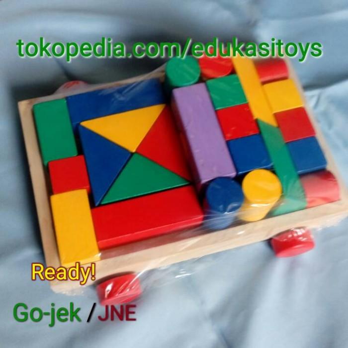 Foto Produk Balok bangun mobil, mainan edukatif edukasi anak kayu murah dari Edukasi Toys