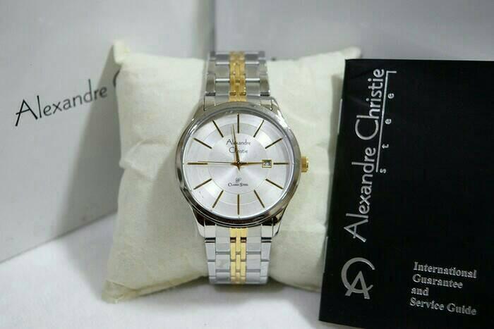 harga Jam tangan cowok/pria alexandre christie ac 8348 silver gold. original Tokopedia.com