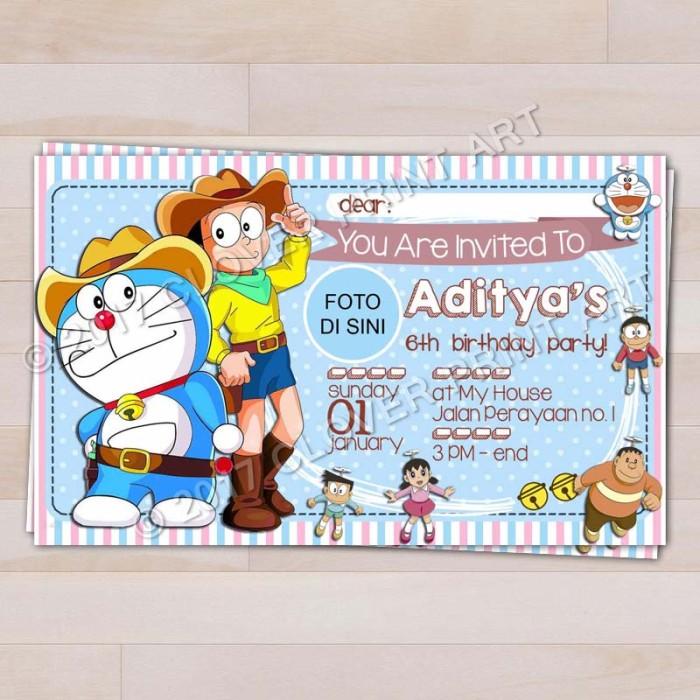Jual Kartu Undangan Ulang Tahun Anak Doraemon Dengan Foto Kota Surakarta Clover Print Art Tokopedia
