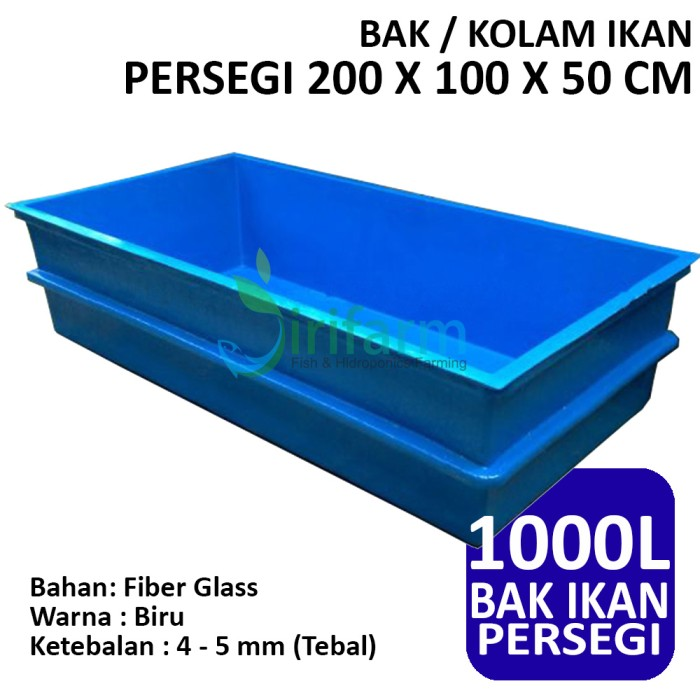 harga Bak / kolam ikan persegi 200 x 100 x 50 cm fiber tebal berkualitas Tokopedia.com