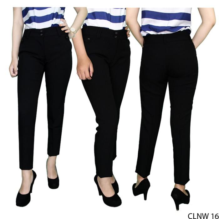 Celana Bahan Wanita Untuk Kerja Katun Hitam CLNW 16