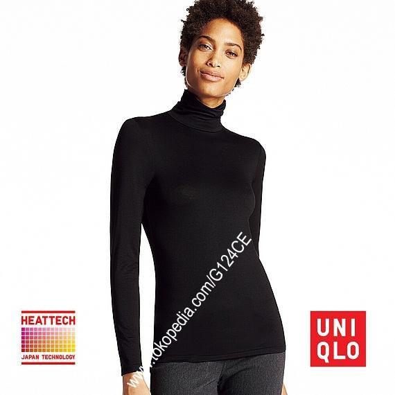 harga Kaos atasan longjohn wanita uniqlo heattech turtle neck 172168 hitam Tokopedia.com
