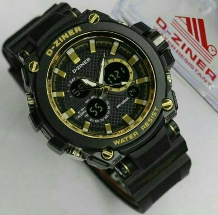 D Ziner Original Dz 8174 Jam Tangan Pria Dual Time Strap Karet Merah Source · 8147
